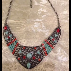 New tribal pewter turquoise coral with wooden bead
